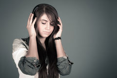 Young woman enjoying the music Royalty Free Stock Photo