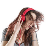 Young Woman Enjoying the Music from Headphone Stock Photo