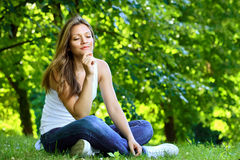 Young woman enjoying in nature Stock Photography