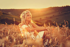 Young woman enjoying the nature. Royalty Free Stock Photos