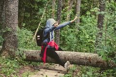 young woman enjoying nature trails Stock Images