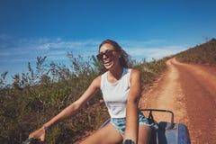 Young woman enjoying quad bike ride Stock Photography