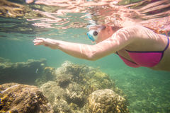 Young woman enjoying reef in Indian Ocean Royalty Free Stock Images
