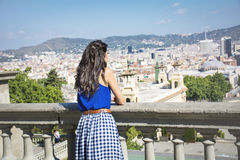Young woman enjoying the sea view  in Barcelona,Spain Royalty Free Stock Photos