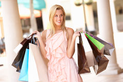 Young Woman Enjoying Shopping Royalty Free Stock Photo
