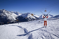 Young woman enjoying skiing Royalty Free Stock Photography