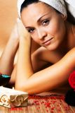 Young woman enjoying spa treatment Royalty Free Stock Photos