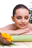 The young woman enjoying spa treatment Stock Image