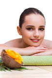 The young woman enjoying spa treatment Stock Photo
