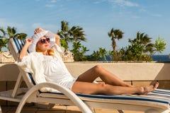Young woman enjoying sun Royalty Free Stock Photos