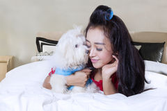 Young woman enjoying time with her dog. Portrait of pretty young woman is enjoying time with a Maltese dog while lying on the bedroom Royalty Free Stock Images