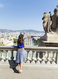 Young woman enjoying the view  in Barcelona,Spain Royalty Free Stock Images