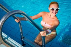 Girl in pool Royalty Free Stock Photos