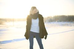 Young woman enjoying winter Royalty Free Stock Images