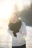 Young woman enjoying winter Royalty Free Stock Photos