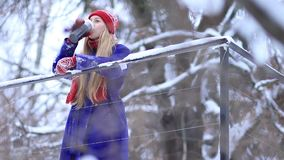 Young woman enjoying winter landscape stock video footage