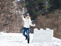 Young woman enjoying winter Royalty Free Stock Image
