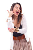 Young woman enjoys with elbow pain Stock Photo