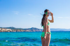 Young woman with equipment ready for snorkeling Royalty Free Stock Images