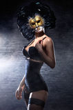 A young woman in erotic lingerie and a mask Royalty Free Stock Photos