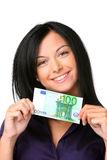 Young woman with euro banknote stock images