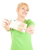 Young woman with euro bil Royalty Free Stock Image