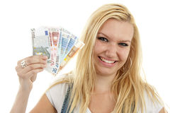 Young woman with euro money Stock Photos