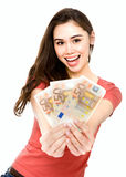 Young woman with euro money Stock Photography