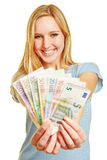 Young woman with Euro money fan Stock Photography
