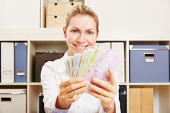 Young woman with Euro money fan Stock Photo