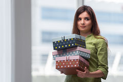 The young woman excited with giftbox Royalty Free Stock Images