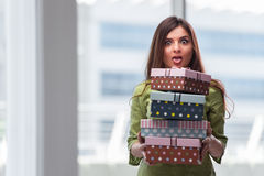 The young woman excited with giftbox Royalty Free Stock Photos
