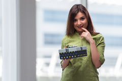 The young woman excited with giftbox Stock Photo