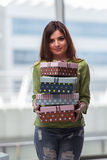 The young woman excited with giftbox Royalty Free Stock Photo