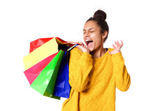 Young woman excited with her shopping Stock Image