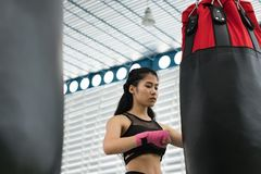 Young woman execute exercise in fitness center. female athlete h Stock Photos