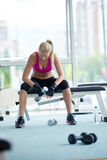 Young woman exercise with dumbells Stock Photography