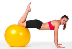 Young woman exercise on pilates ball Royalty Free Stock Photography