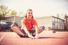 Young woman exercise. royalty free stock photos