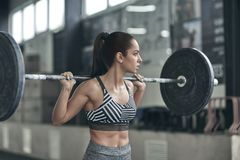 Young woman exercises in gym healthy lifestyle ready to lift barbell Stock Photography