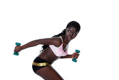 Young woman exercising. Isolated young woman exercising on a white background Royalty Free Stock Photos