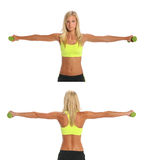 Young Woman Exercising With Dumbbells. Front and back views of beautiful young woman exercising with dumbbells isolated over white background Royalty Free Stock Images
