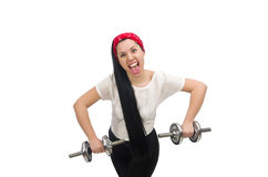 Young woman exercising with dumbbells Royalty Free Stock Images