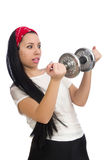 Young woman exercising with dumbbells Stock Photos