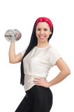 Young woman exercising with dumbbells Stock Photo