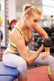 Young woman exercising with dumbbells at a gym, vertical Royalty Free Stock Image