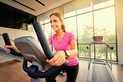 Young woman exercising in gym. Healthy lifestyle and sport. Pretty young woman exercising in gym Royalty Free Stock Photography