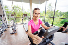 Young woman exercising in gym. Healthy lifestyle and sport. Pretty young woman exercising in gym Stock Image