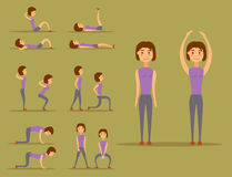 Young woman is exercising at home fitness character workout healthy living and diet concept vector illustration. Stock Photos