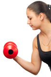 Young woman exercising with red dumbbell Royalty Free Stock Images